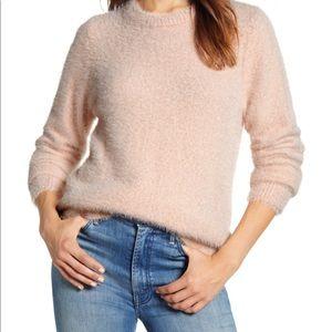 LuckyBrand Womens EyelashRibbedTrimCrewneckSweater